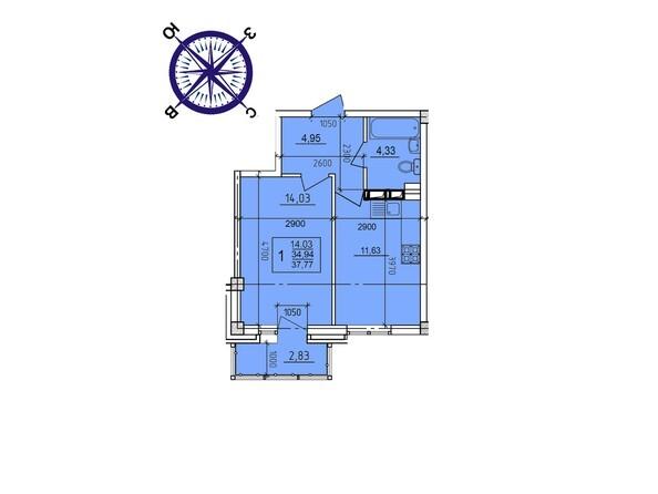 Планировки Жилой комплекс ИРКУТСКИЙ ДВОРИК-2, дом 2 (б/с 7,8,9) - Планировка однокомнатной квартиры 37,77 кв.м