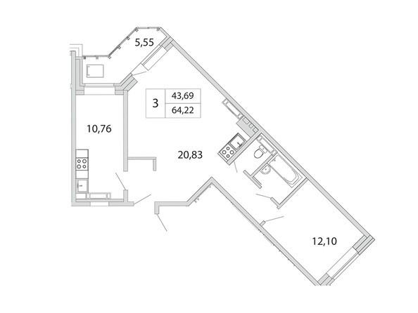 Планировка 3-комн 64,22 м²