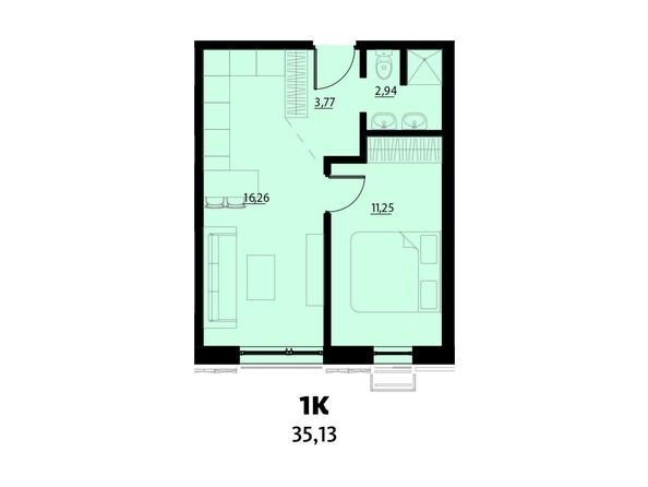 Планировка 1-комнатной 35,13 кв.м