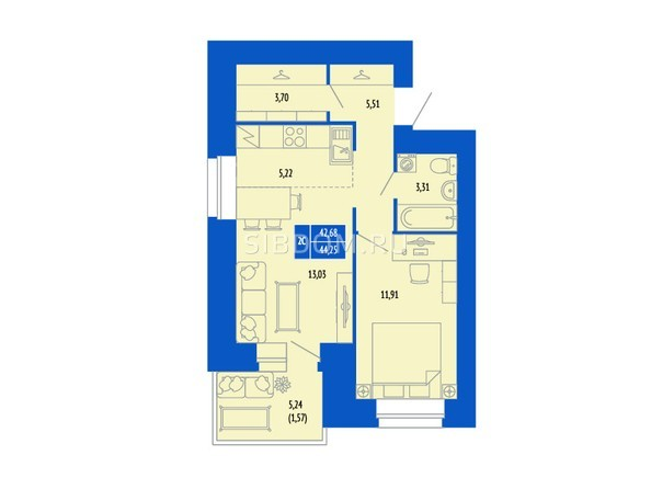 2-комнатная 44.25 кв.м