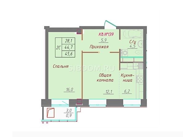 1-комнатная 45.6 кв.м