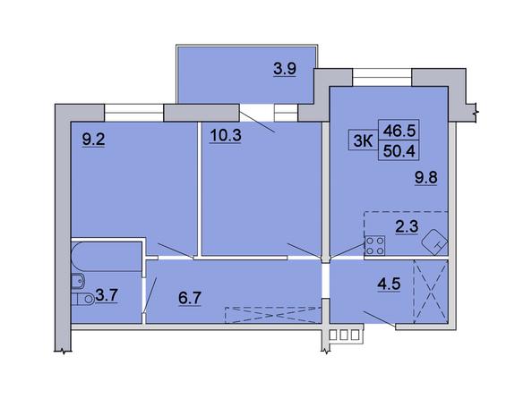 3-комнатная 50,4 кв.м