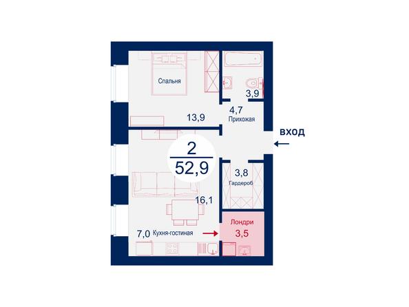 Планировки Жилой комплекс SCANDIS (Скандис), дом 7 - Планировка двухкомнатной квартиры 52,9 кв.м