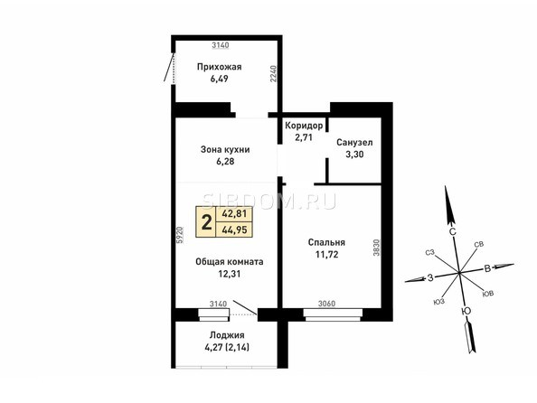 2-комнатная 44.95; 42.81 кв.м