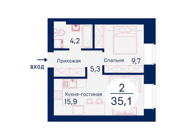 Планировки Жилой комплекс SCANDIS (Скандис), дом 6 - Планировка двухкомнатной квартиры 35,1 кв.м