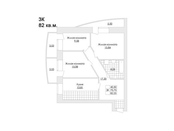 Планировки Жилой комплекс ЖЕМЧУЖИНА - Планировка трёхкомнатной квартиры 82,3 кв.м