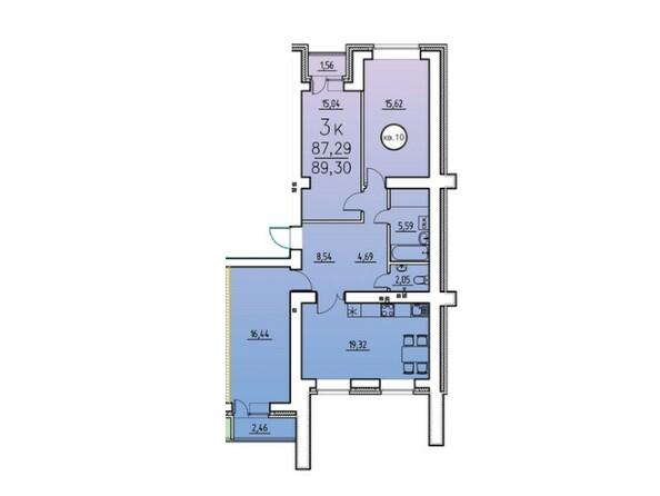 3-комнатная 87.29 - 89.55 кв.м