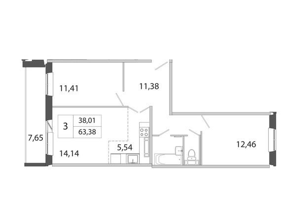 3-комнатная 63.38 кв.м