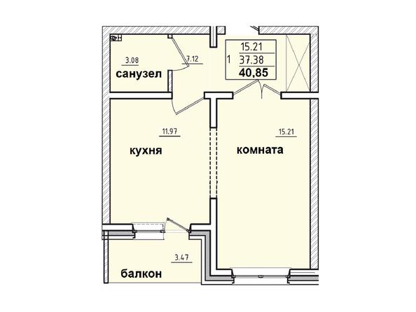 Планировки Жилой комплекс КОРИЦА, дом 1 - 1-комнатная 40,85 кв.м