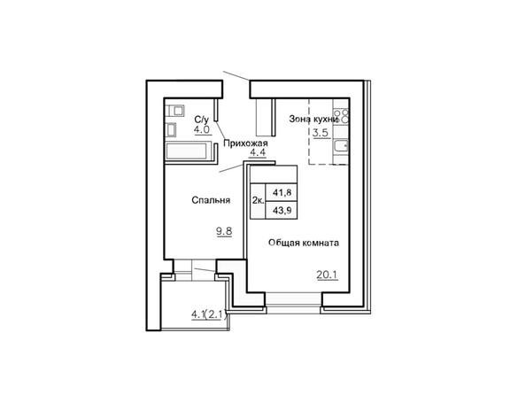 Планировки Жилой комплекс НОВАЯ ПРИСТАНЬ, дом 4 - Планировка двухкомнатной квартиры 43,9 кв.м