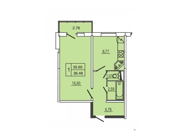 Планировка 1-комн 36,48 м²
