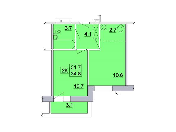 2-комнатная 34,8 кв.м