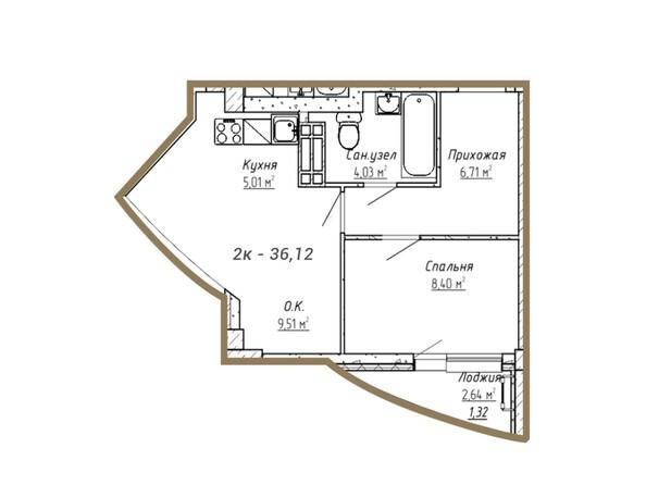 Планировки Жилой комплекс ДОМ НА СИБИРСКОЙ - Планировка двухкомнатной квартиры 36,12 кв.м