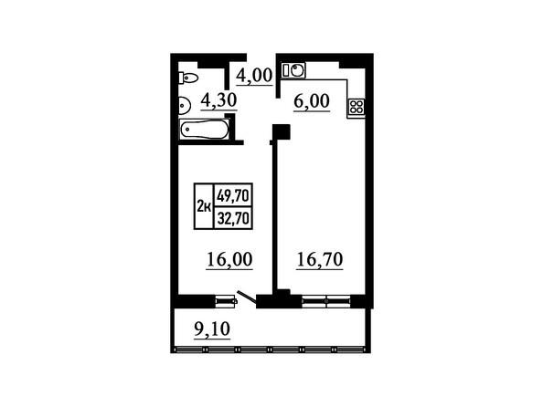 2-комнатная 49,7 кв.м