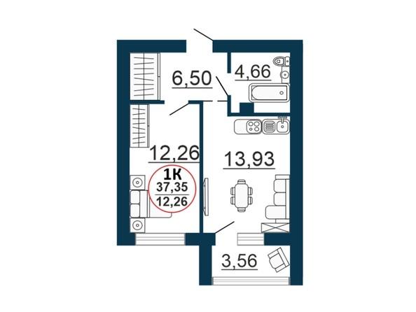 Планировка 1-комн 37,35 м²