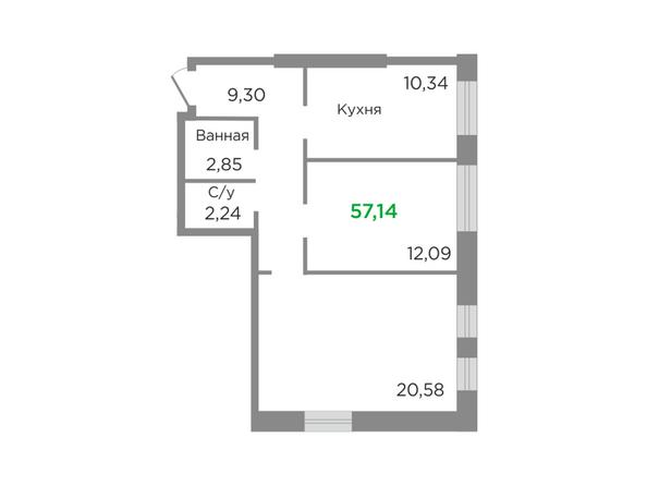 Планировки Жилой комплекс ЯСНЫЙ БЕРЕГ, дом 11 - Планировка двухкомнатной квартиры 57,14 кв.м