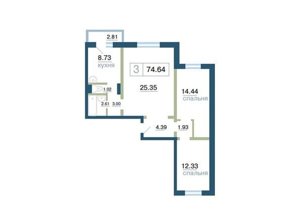 Планировка 3-комн 74,64, 74,69 м²