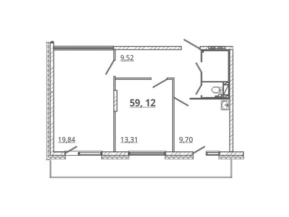 Планировка 2-комн 59 м²
