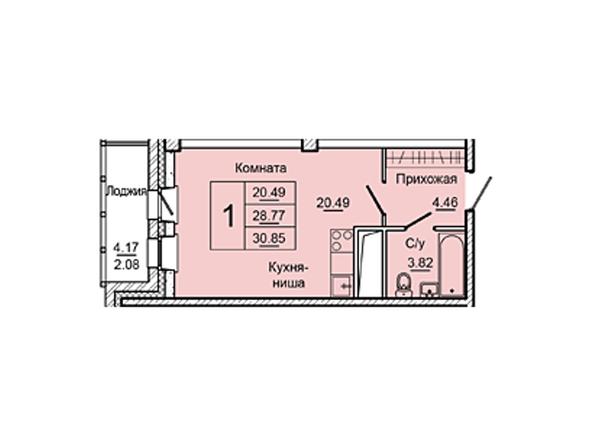 Планировки Жилой комплекс НА ДУДИНСКОЙ, дом 2  - Планировка однокомнатной квартиры 30,85 кв.м