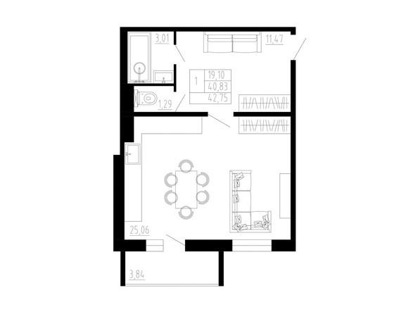 1-комнатная 43 кв.м