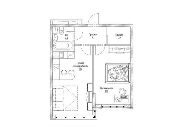 1-комнатная 46.2 кв.м