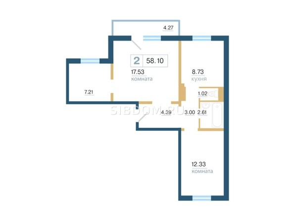 Планировка 2-комн 58 - 58,6 м²