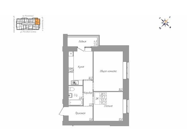 Планировка 2-комн 55,3 м²
