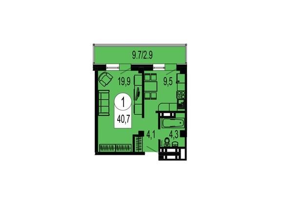Планировка однокомнатной квартиры 40,7 кв.м