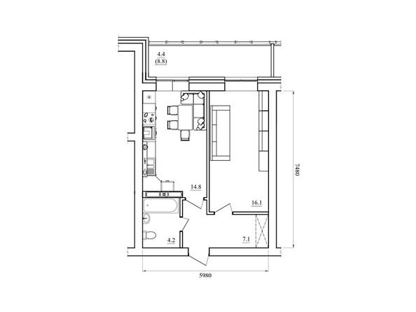 Планировка однокомнатной квартиры 46,6 кв.м