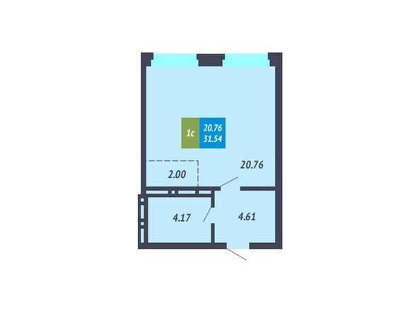 Студия 31,54 кв.м