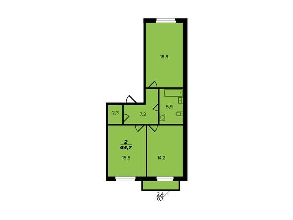Планировка 2-комн 64,7 м²