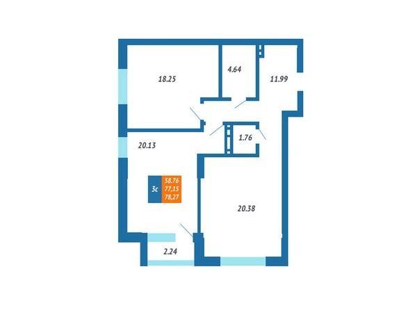 Планировка 3-комн 76,67 - 78,27 м²