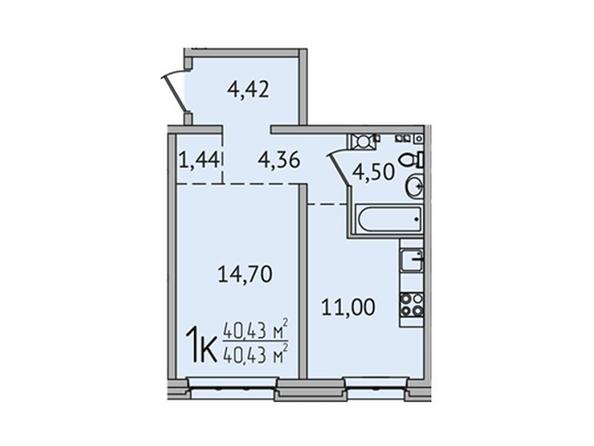 1-комнатная 40,43 кв.м