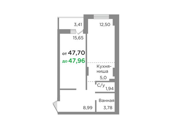 Планировки Жилой комплекс ЯСНЫЙ БЕРЕГ, дом 10, б/с 1-3  - Планировка двухкомнатной квартиры 47,8 кв.м