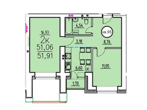2-комнатная 51.06 - 52.65 кв.м
