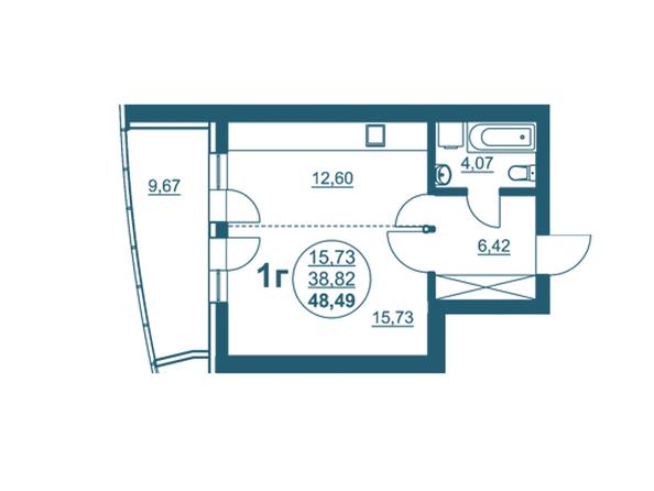 Планировки Жилой комплекс ФЛОТИЛИЯ - 1-комнатная 48,49 кв.м блок А