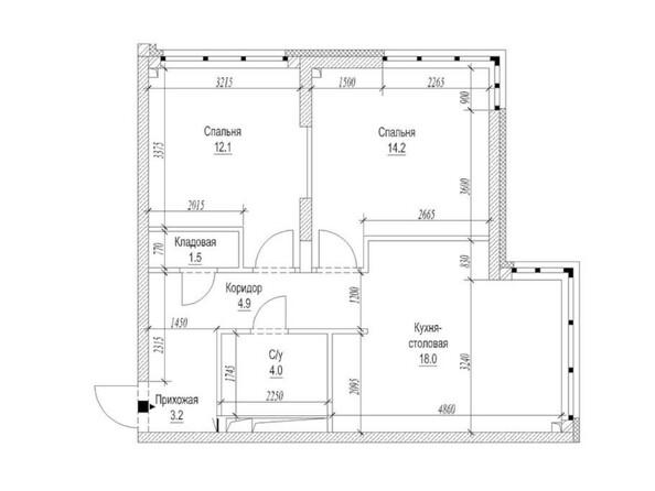 Планировка 2-комн 59,7 м²