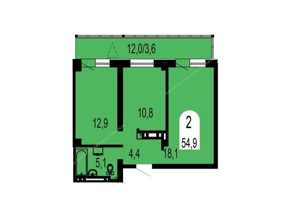 Планировки Жилой комплекс ТИХИЕ ЗОРИ, дом 1 (Красстрой) - Планировка двухкомнатной квартиры 54,9 кв.м