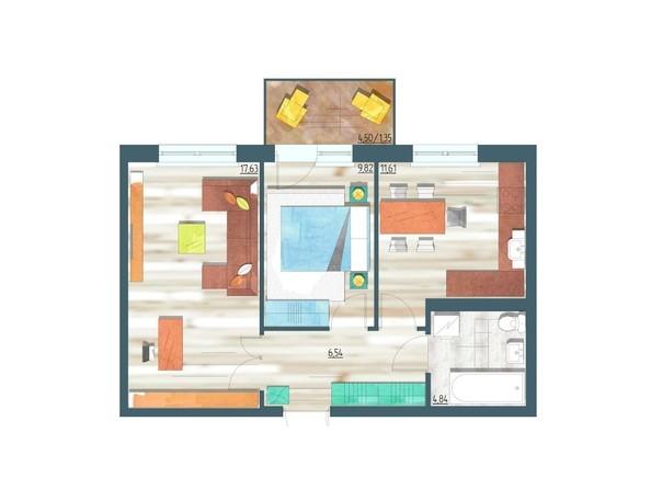 Планировки Жилой комплекс ЖИВЁМ эко-район, 3 квартал, дом 1 - Планировка двухкомнатной квартиры 51,79 кв.м