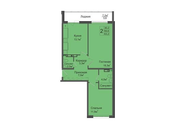 2-комнатная 63,2 кв.м