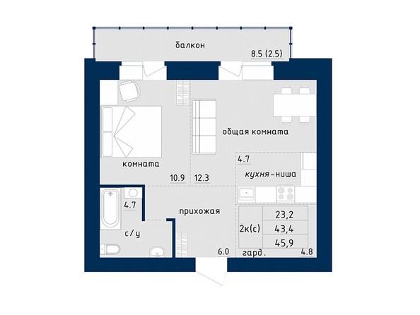 2-комнатная 45.9 кв.м