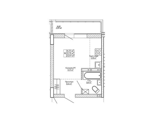 Планировки Ленина, 123 - Планировка однокомнатной квартиры 23,97 кв.м