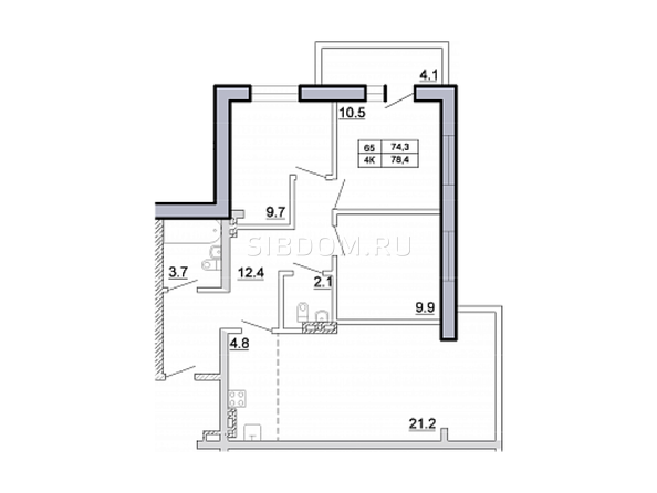 Планировка 4-комн 78,4 м²