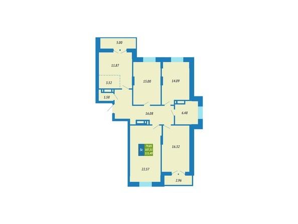 Планировка 5-комнатной квартиры 111,49 кв.м