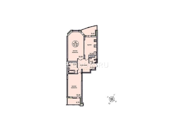 Планировки Жилой комплекс ЗАЕЛЬЦОВСКИЙ, 1 этап - Планировка двухкомнатной квартиры 78,79 кв.м