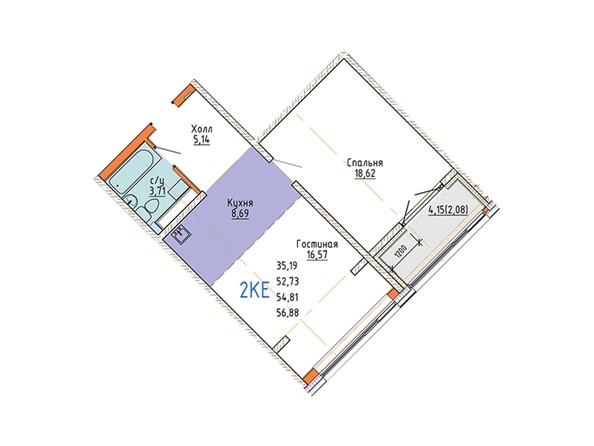 2-комнатная 58,74 кв.м