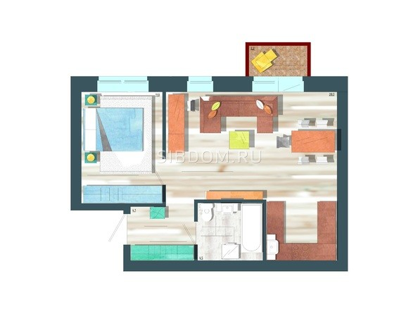 Планировки Жилой комплекс ЖИВЁМ эко-район, 10 квартал, дом 1 - Планировка двухкомнатной квартиры 48,3 кв.м