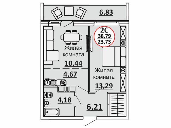 Планировки Жилой комплекс ВЕСЕННИЙ, Заречная 39, дом 2/4 - 2-комнатная 42,21 кв.м