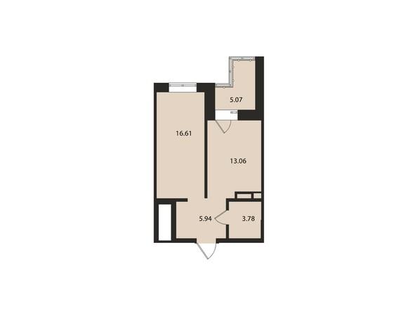 Планировки Жилой комплекс ВДОХНОВЕНИЕ - Планировка однокомнатной квартиры 43,5 кв.м