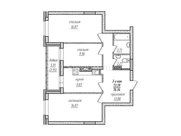 3-комнатная 76.34 кв.м